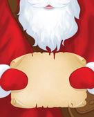 Santa Claus postman holding scroll. — Vecteur