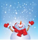 Snowman and snowfall. — Stock Vector