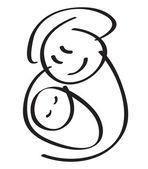 Mutter mit baby — Stockvektor