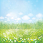 Blossoming meadow with forest background. — Cтоковый вектор