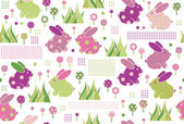 Seamless cute pattern, rabbits in flowers — Cтоковый вектор