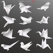 Origami papper fåglar — Stockvektor