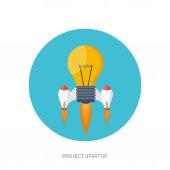Icona del razzo piatto. concetto di avvio. sviluppo del progetto. — Vettoriale Stock