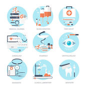 Vector illustration. Flat medical and chemical background. Research, experiment. Healthcare, first aid. — Stock Vector