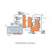 Vector illustration. Flat computing background. Programming,coding. Web development and search. SEO. Innovation, technologies. Mobile app. Development, optimization. — Stock Vector