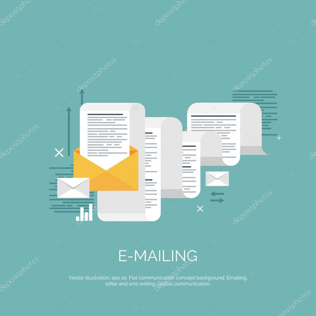 Vector illustration. Flat emailing background. Email. Global ...