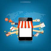 Concepto de compras de Internet. E-commerce. Tienda en línea. Web dinero y pagos. Pago por click. — Vector de stock