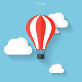 Flat air balloon with clouds web icon. — Vector de stock
