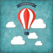 Flat air balloon web icon. Travel vintage background — Vector de stock