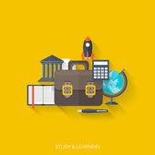 Flat concept education background. Back to school. Distance learning. Study in univercity. — Stockvector