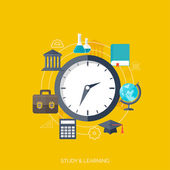Flat concept education background. Back to school. Distance learning. Study in univercity. — Stock Vector