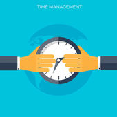 Flat hands with clock. Time management concept background — Stock Vector