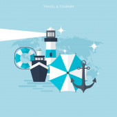 World travel concept background.  Flat icons. Tourism concept image.Holidays and vacation.Sea, ocean, land, air travelling. — Stockvector