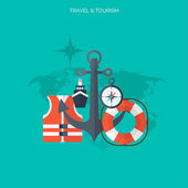World travel concept background.  Flat icons. Tourism concept image.Holidays and vacation.Sea, ocean, land, air travelling. — Stock vektor