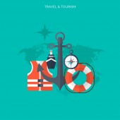 World travel concept background.  Flat icons. Tourism concept image.Holidays and vacation.Sea, ocean, land, air travelling. — Stockvektor