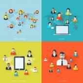 Flat set of social media backgrounds. Social network. global communication. — Vector de stock