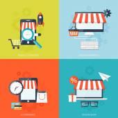 Internet-shopping-Konzept. E-Commerce. Online-Shop. Web-Geld und Zahlungen. Pay-per-Klick. — Stockvektor