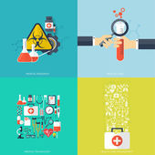 Flat health care and medical research background. Healthcare system concept. Medicine and chemical engineering.  First aid and diagnostic equipment. — Stock Vector