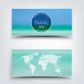Blurred landscape background card. Travel concept with eart map. Mobile or web ui element. Web site header. — Stock Vector