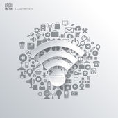 Wi-fi icon. Flat abstract background with web icons. Interface symbols. Cloud computing. Mobile devices.Business concept. — Stockvektor