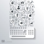 Keyboard icon. Flat abstract background with web icons. Interface symbols. Cloud computing. Mobile devices.Business concept. — Vetor de Stock