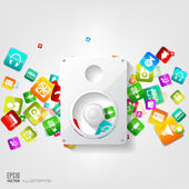 Music loudspeaker, subwoofer icon. Application button.Social media.Cloud computing. — Stock Vector