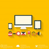 Flat abstract background with web icons. Interface symbols. Cloud computing. Mobile devices. — Stock Vector