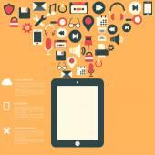 Plat abstrait avec des icônes du web. symboles de l'interface. le cloud computing. appareils mobiles. — 图库矢量图片