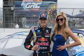 Kevin Hansen Jr. rally driver at the Red Bull GRC Global Rallycross — Stockfoto