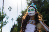 Unknown girl at the 15th annual Day of  the Dead Festival — Foto Stock