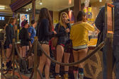 "People without pants buying meal during  the ""No Pants Metro Rid — Stock Photo"