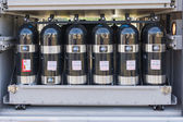 Oxygen cylinders on display — Stock Photo