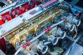 Jaguar engine car on display — Stock Photo