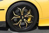 Lamborghini wheel car on display — Stock Photo