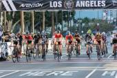 Cyclists at the start — Stock Photo