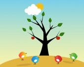 Birds and fruit tree — Stock Vector