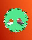 Valentine birds and flowers — Stock Vector