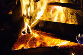 Hot Coals in a Bonfire — Foto Stock