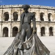 Statue of famous bullfighter in front of the arena in Nimes, France — Stock Photo #57757883