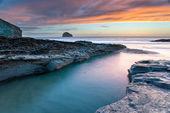 Sunset at Trebarwith Beach — Stock Photo