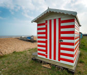 Stripey Beach Hut — Stock Photo