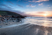 Sunrise at Portholland in Cornwall — Stock Photo