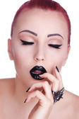 Beauty Fashion Model Girl with Black Make up, Long Lushes. Dark  — Zdjęcie stockowe