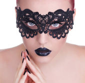 Beautiful Woman with Black Lace mask over her Eyes.  Black Manic — Stock Photo