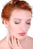 Portret van het mooie jonge meisje in een afbeelding van de bruid wi — Stockfoto