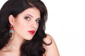 Sexy Beauty Girl with Red Lips. Provocative Make up. Luxury Woma — Stock Photo