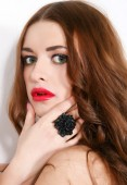 Close-up portrait of young beautiful woman with red sensual lips — Stock Photo
