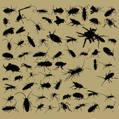 Bugs silhouettes set on beige background — Stock Vector