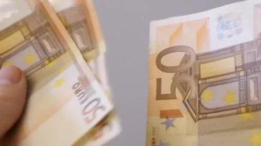 Close Up Of Male Hands Counting Money, fifty, twenty, ten  Bills — Stock Video