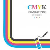 CMYK vector background. Print colors paint roller. — Stock Vector
